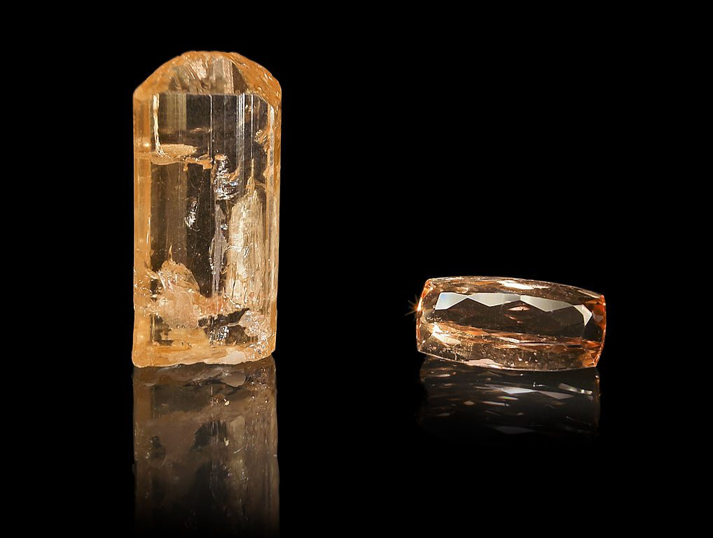 rough and cut imperial topaz - rare engagement ring stones