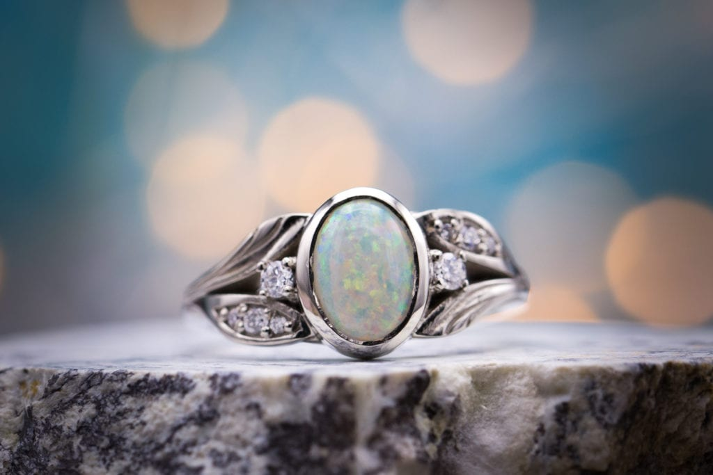 bezel-set opal - opal engagement ring stone