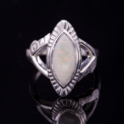 Art Deco opal ring - opal engagement ring stone
