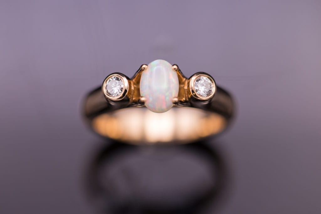 prong-set white opal and rose gold ring - opal engagement ring stone