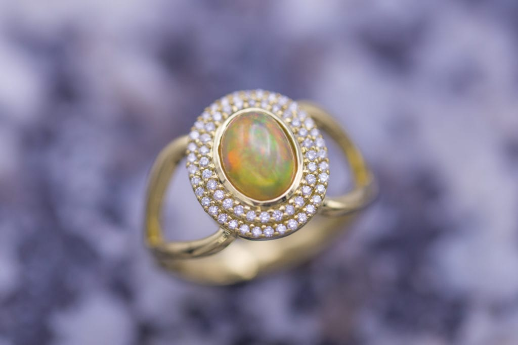yellow opal with halo setting - opal engagement ring stone