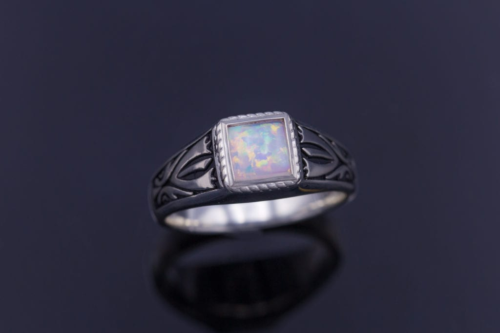 synthetic opal, Nordic style ring - opal engagement ring stone