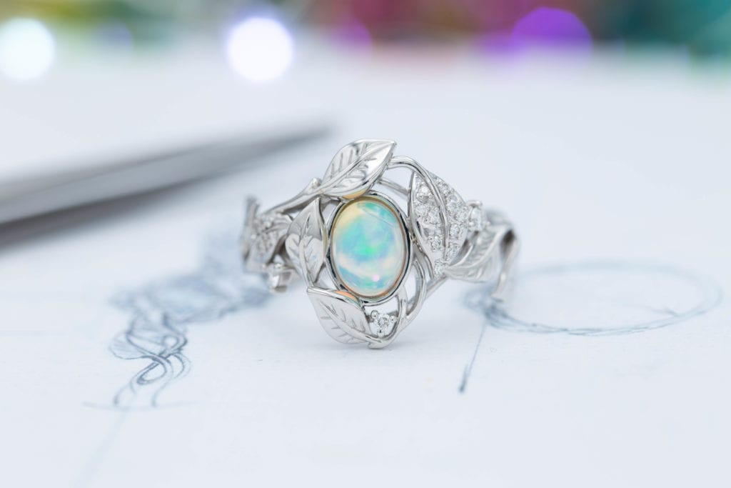 Ethiopian white opal - opal engagement ring stone