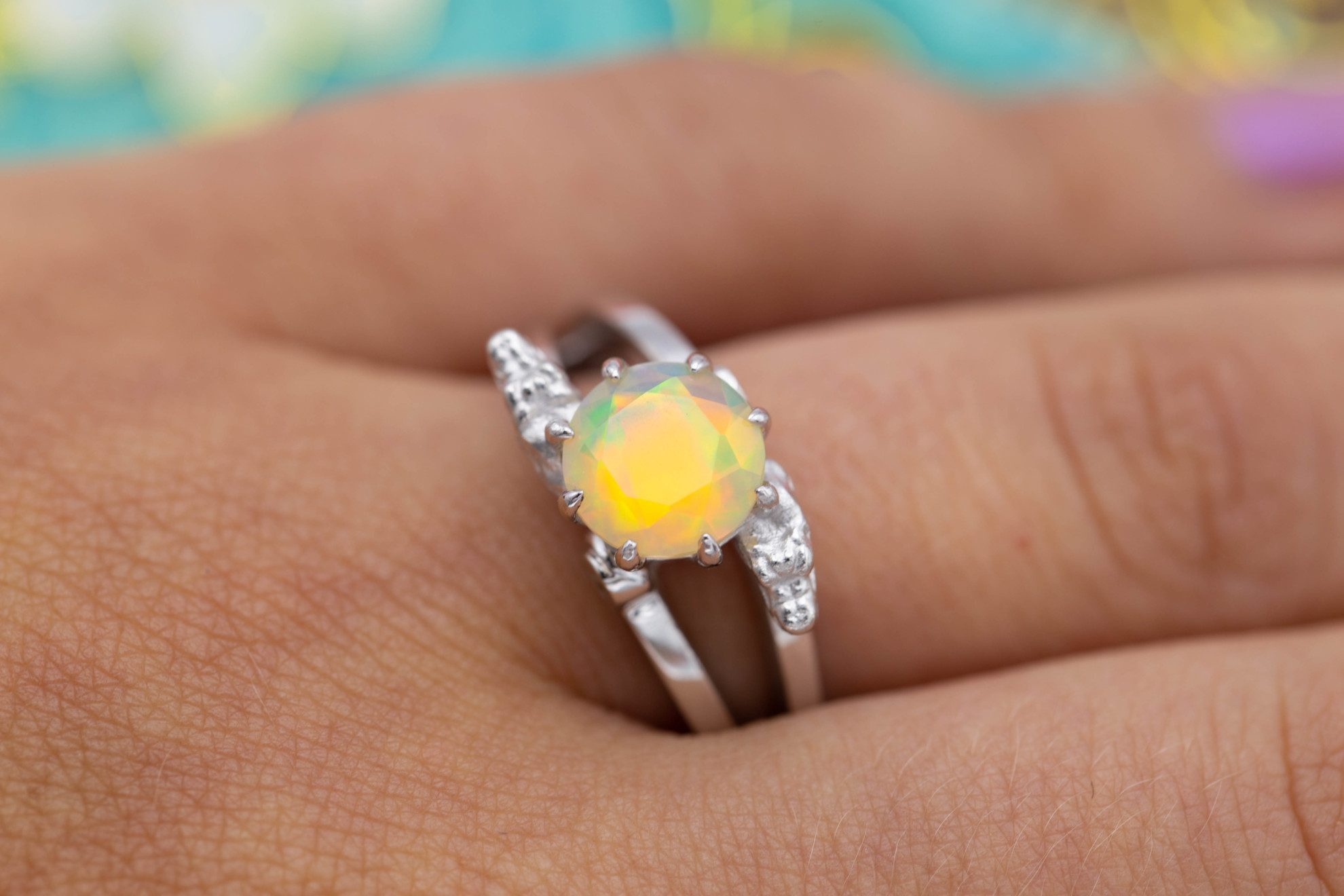 faceted white opal - opal engagement ring