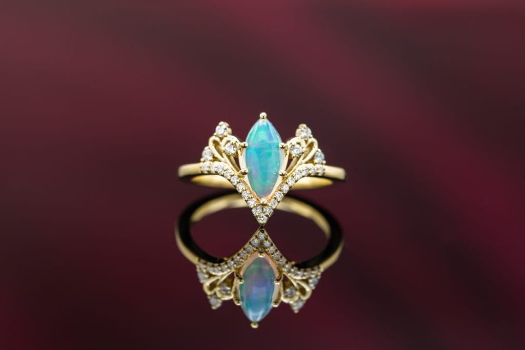 marquise cab opal - opal engagement ring stone