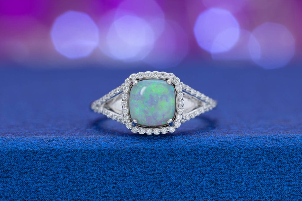 custom-cut white opal - opal engagement ring stone
