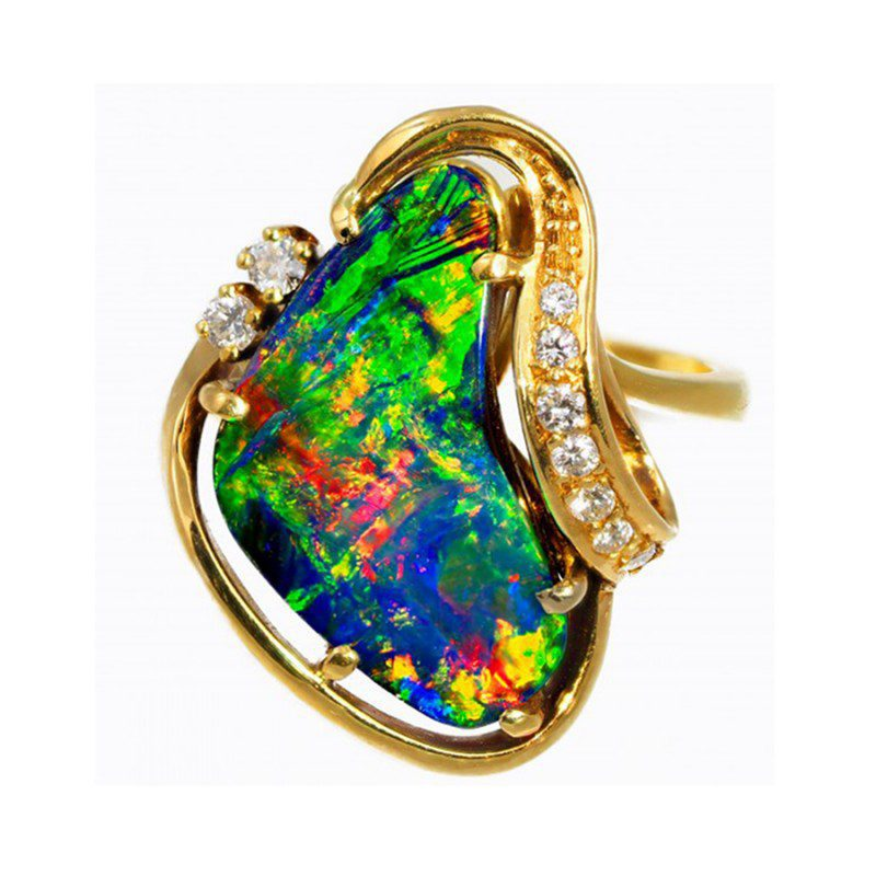 boulder opal ring - opal engagement ring stone