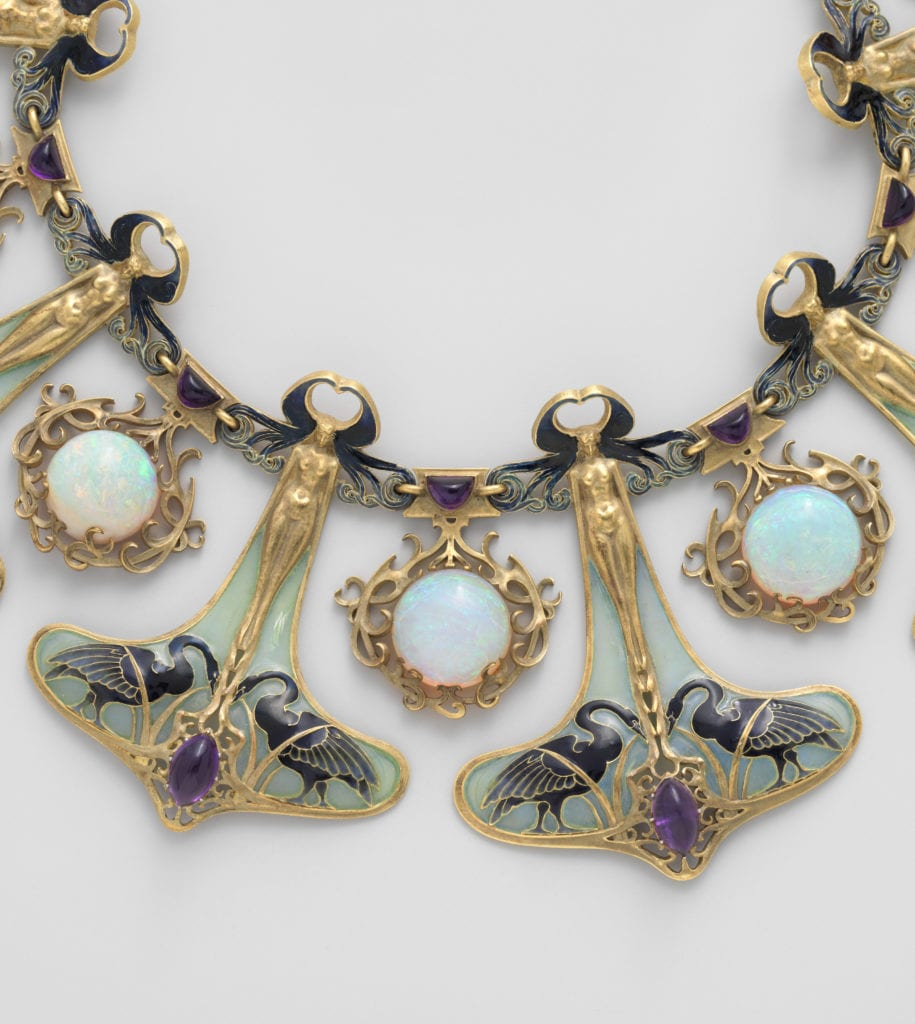 Art Nouveau opal and amethyst necklace - opal engagement ring stone