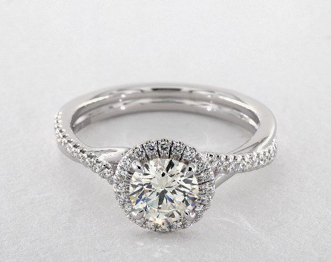 searching for diamonds online - 1.00ct J in white gold halo engagement ring