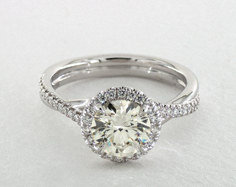searching for diamonds online - 1.51ct M in white gold halo engagement ring