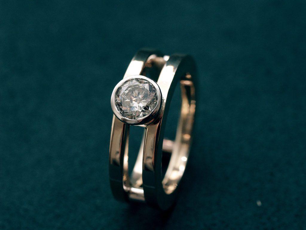 bezel-set diamond ring - protective gem settings