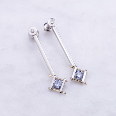 earrings with lab-created fancy blue diamonds - lab-created diamonds