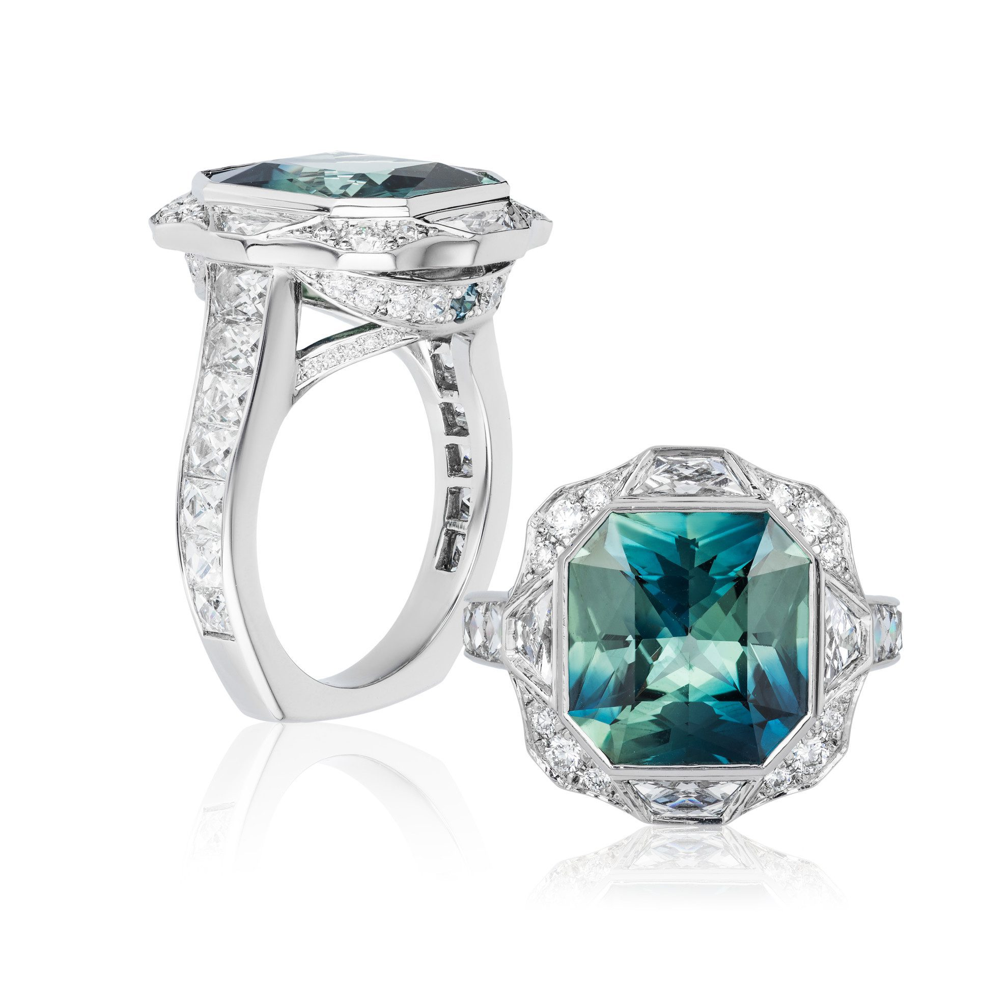 ring with bezel and channel settings - protective gem settings