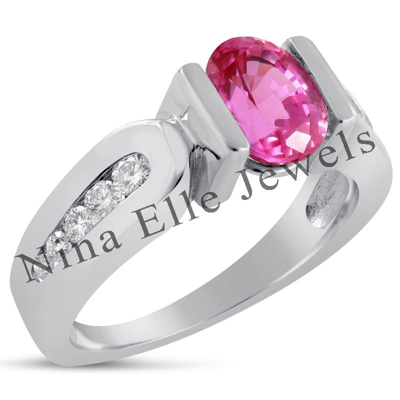 tension-style setting featuring pink sapphire - protective gem settings