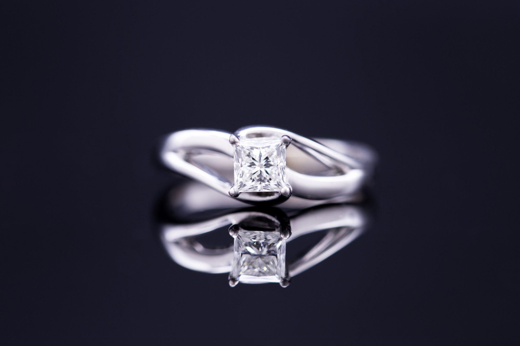 princess-cut diamonds - bypass setting engagement ring