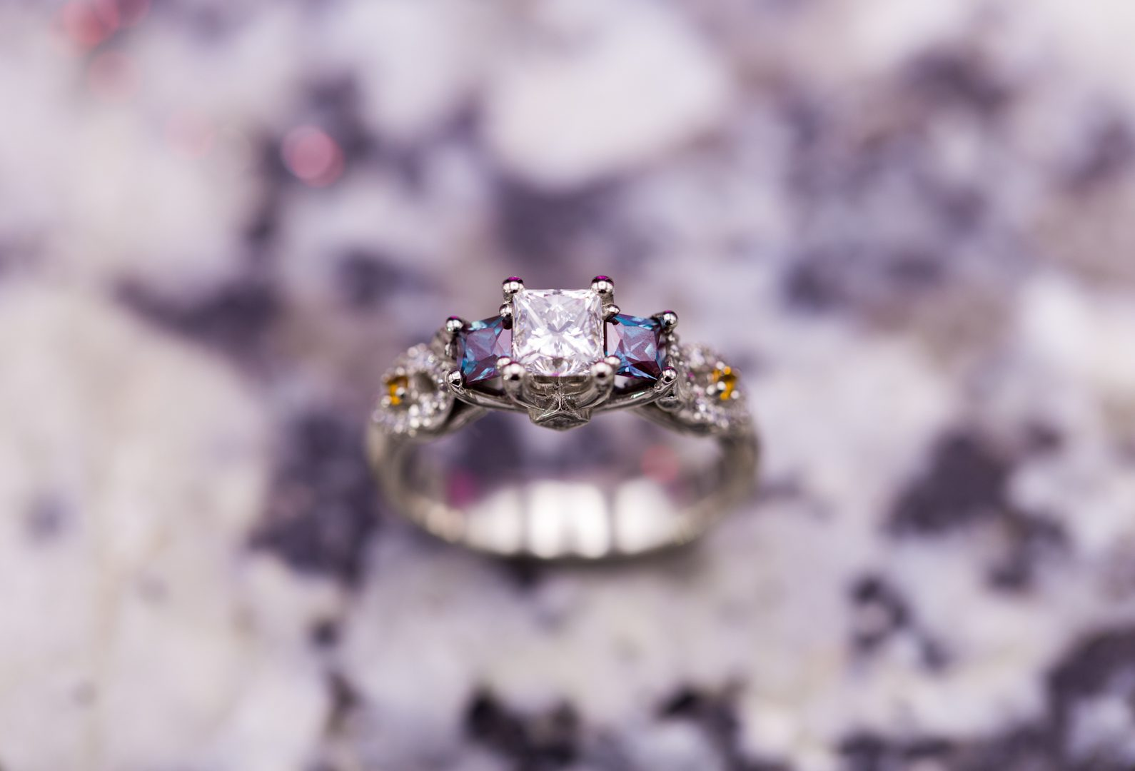 princess-cut diamonds - vintage inspired engagement ring
