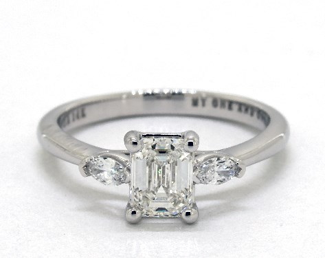 emerald-cut diamond in a three-stone engagement ring - emerald-cut & asscher-cut diamonds