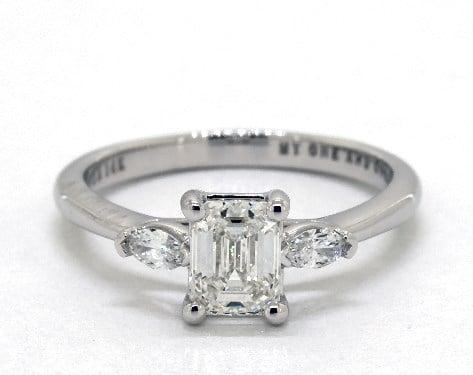 emerald & asscher-cut diamonds - three-stone ring