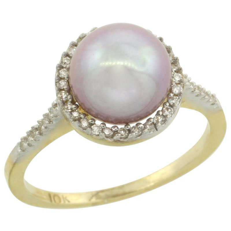 halo engagement ring with pink pearl and diamonds - delicate engagement ring stones