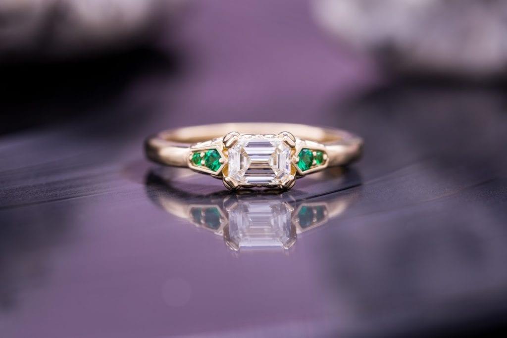 emerald & asscher cut diamonds - east-west set emerald-cut diamond engagement ring
