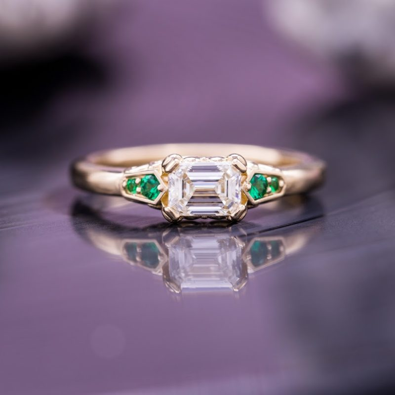 emerald & asscher cut diamonds - east-west set emerald-cut diamond engagement ring