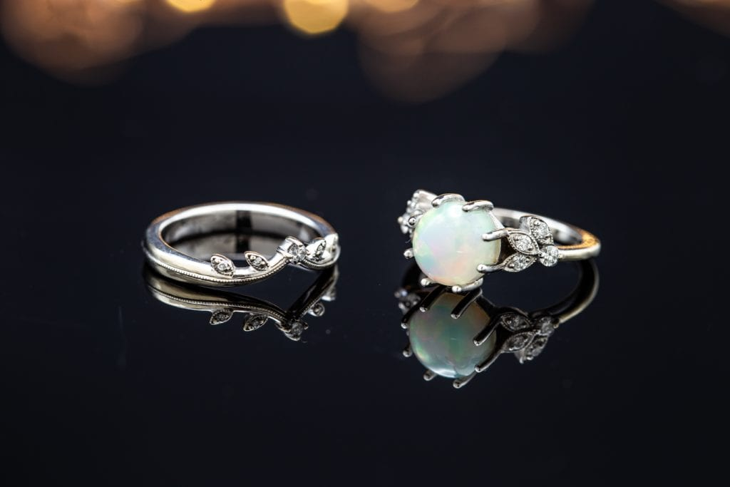 bridal set with white opal - delicate engagement ring stones