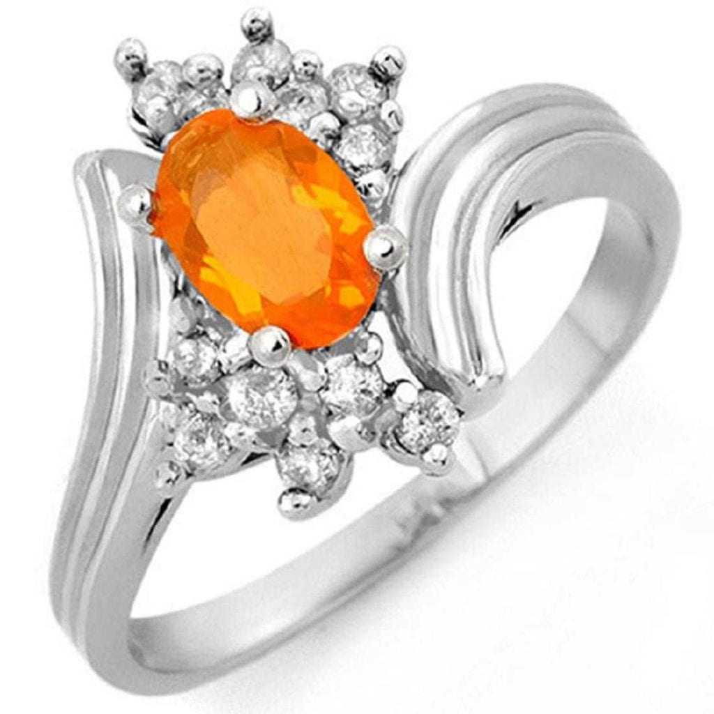 white gold ring with fire opal and diamonds - delicate engagement ring stones