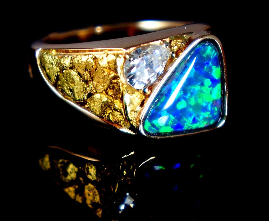 black opal and moissanite ring - delicate engagement ring stones