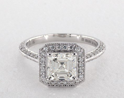 asscher-cut diamond halo engagement ring - emerald-cut & asscher-cut diamonds