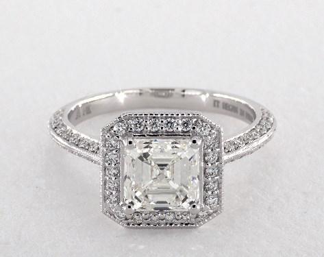 emerald & asscher-cut diamonds - halo ring