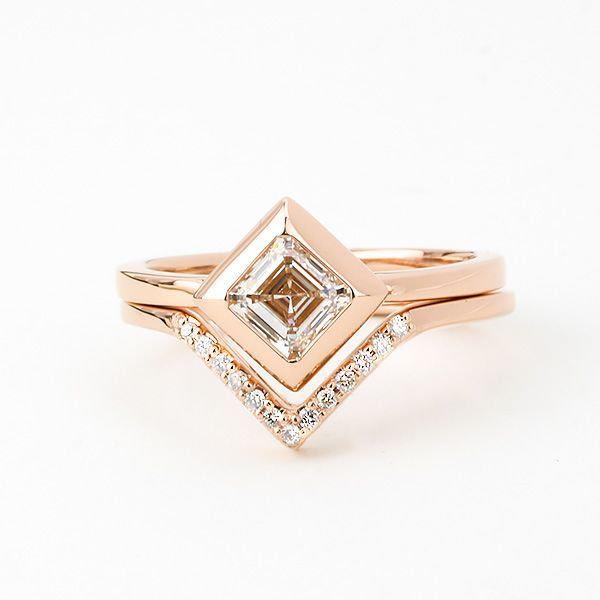 emerald & asscher cut diamonds - kite-set asscher-cut diamond engagement ring with matching band