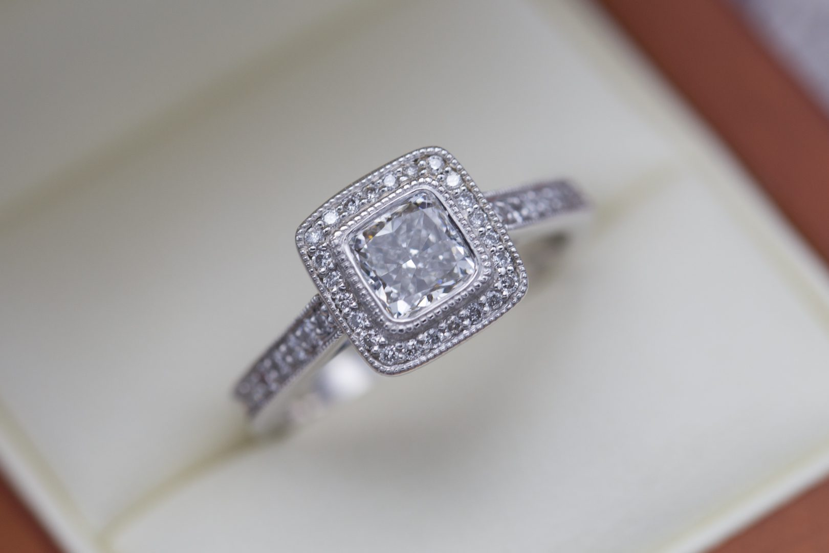 diamond shape - cushion cut diamond halo engagement ring