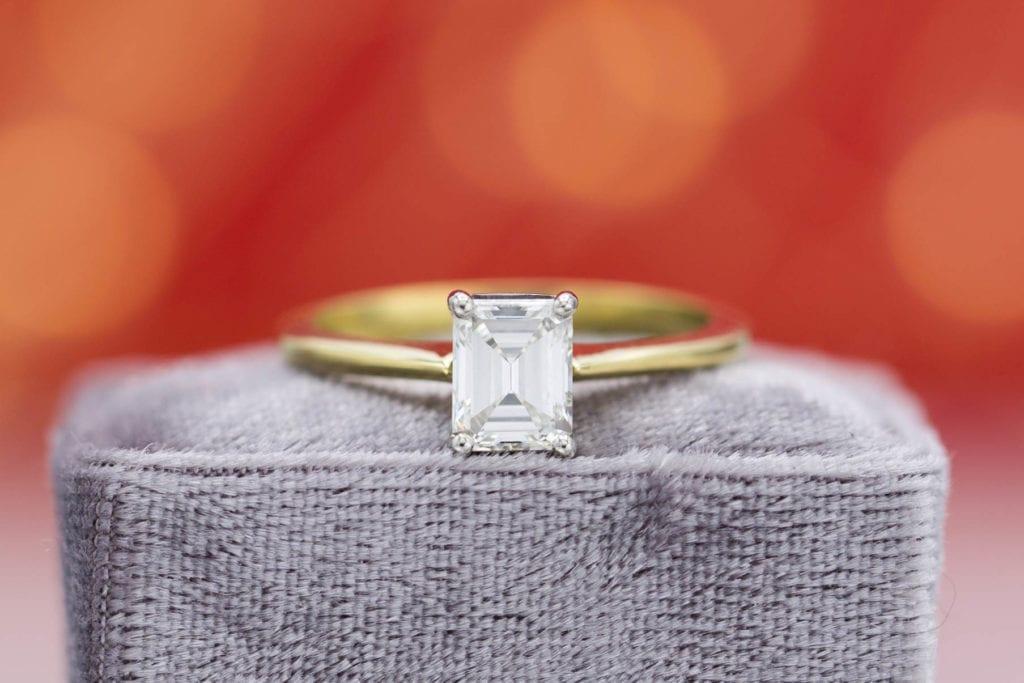 emerald & asscher-cut diamonds - emerald-cut solitaire engagement ring