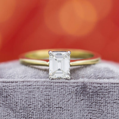 emerald & asscher cut diamonds - emerald-cut solitaire engagement ring
