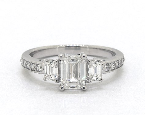 diamond shape - emerald-cut diamond in three stone engagement ring