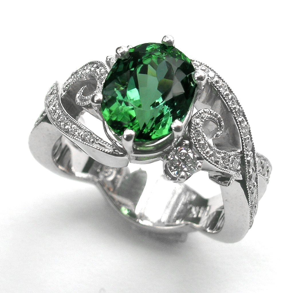 conflict-free diamonds - green tourmaline ring