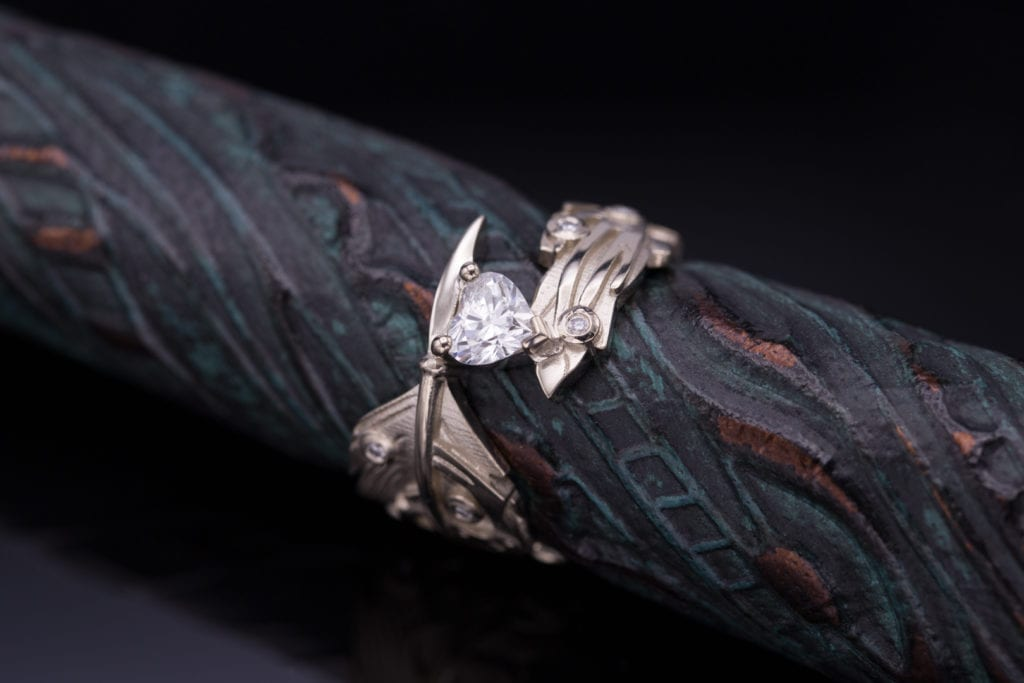 diamond shape - tattoo-inspired heart shaped diamond engagement ring