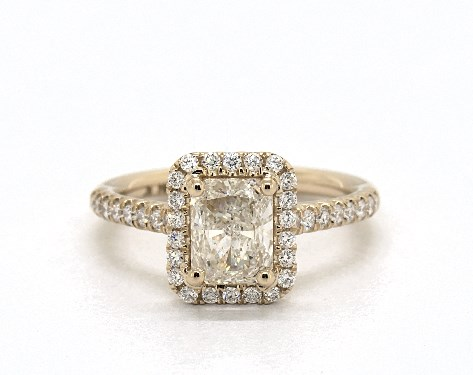 diamond shape - radiant diamond halo engagement ring