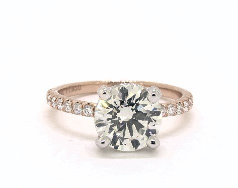 diamond shape - 1.78ct round diamond in rose gold pave engagement ring
