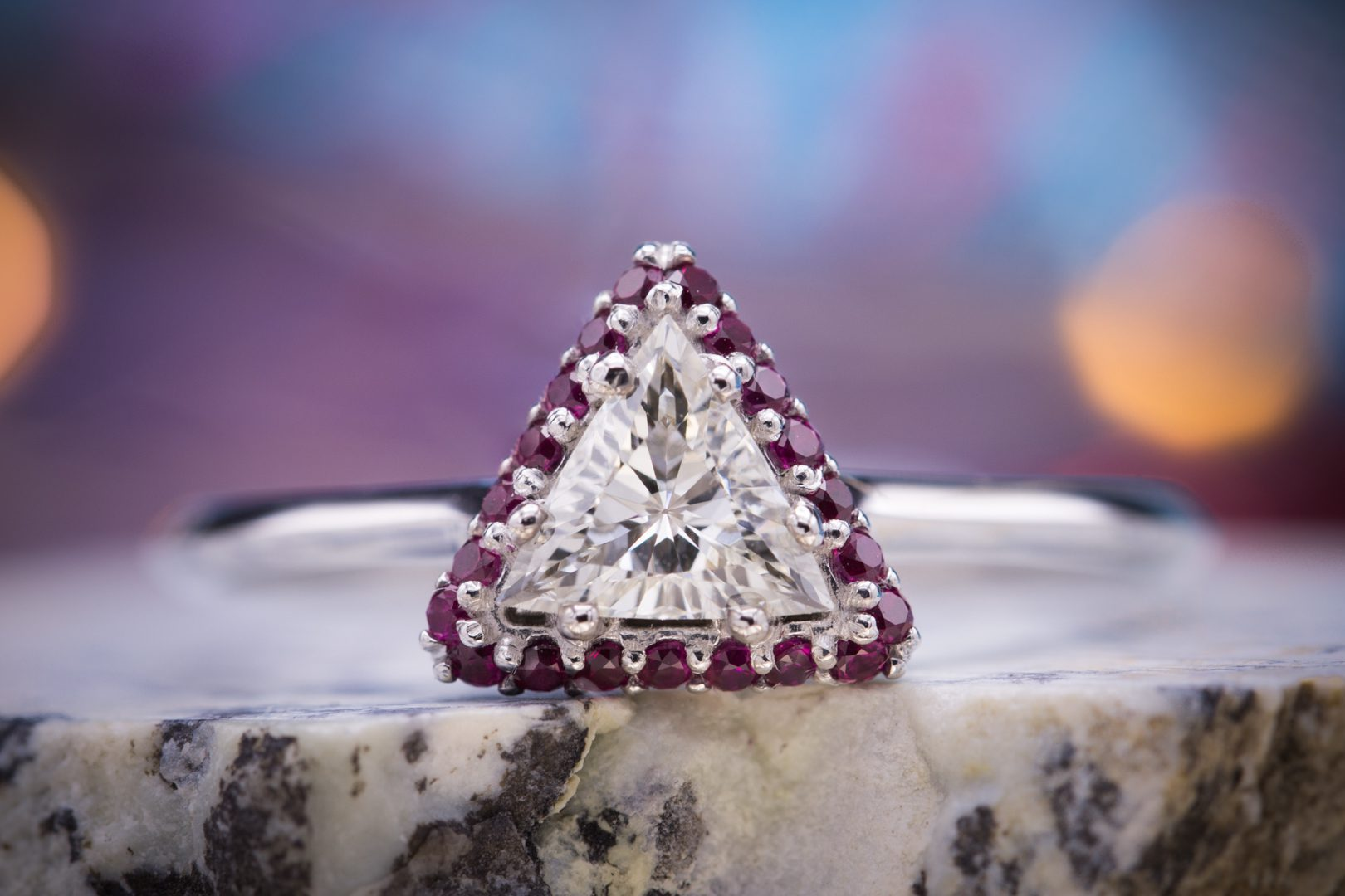 diamond shape - trillion diamond and ruby engagment ring