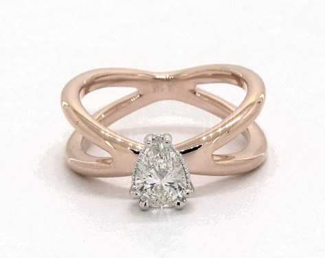 pear-shaped diamond guide - 0.60ct pear in rose gold engagement ring