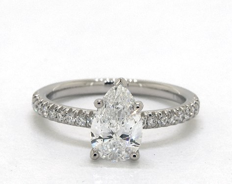 pear-shaped diamond guide - pear-shaped diamond engagement ring with petite pave band
