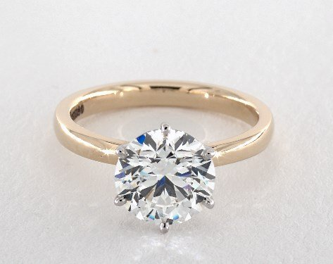 d color flawless diamond guide - yellow gold solitaire engagement ring with white gold prongs