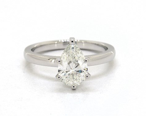 pear-shaped diamond guide - H color pear in white gold solitaire engagement ring