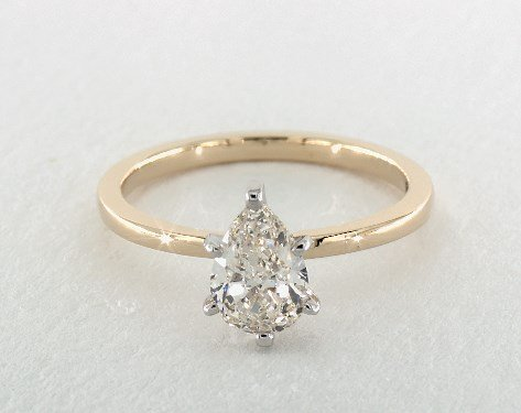 pear-shaped diamond guide - J color in yellow gold solitaire engagement ring