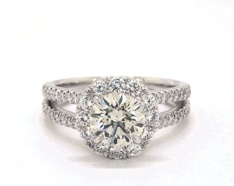 buying a one-carat diamond ring - m color diamond in halo engagement ring