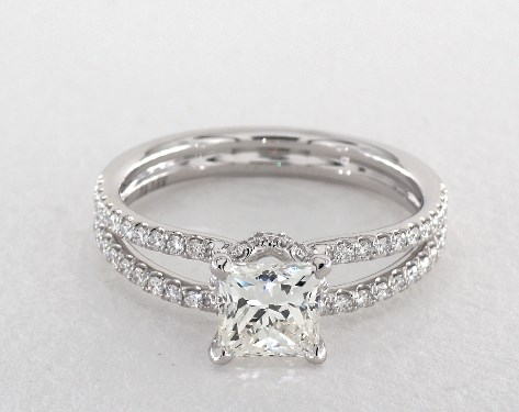 buying a one-carat diamond ring - princess cut diamond in split shank engagement ring