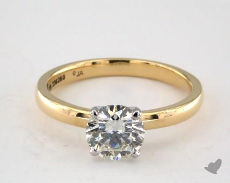 buying a one-carat diamond ring - yellow gold solitaire with white gold prongs