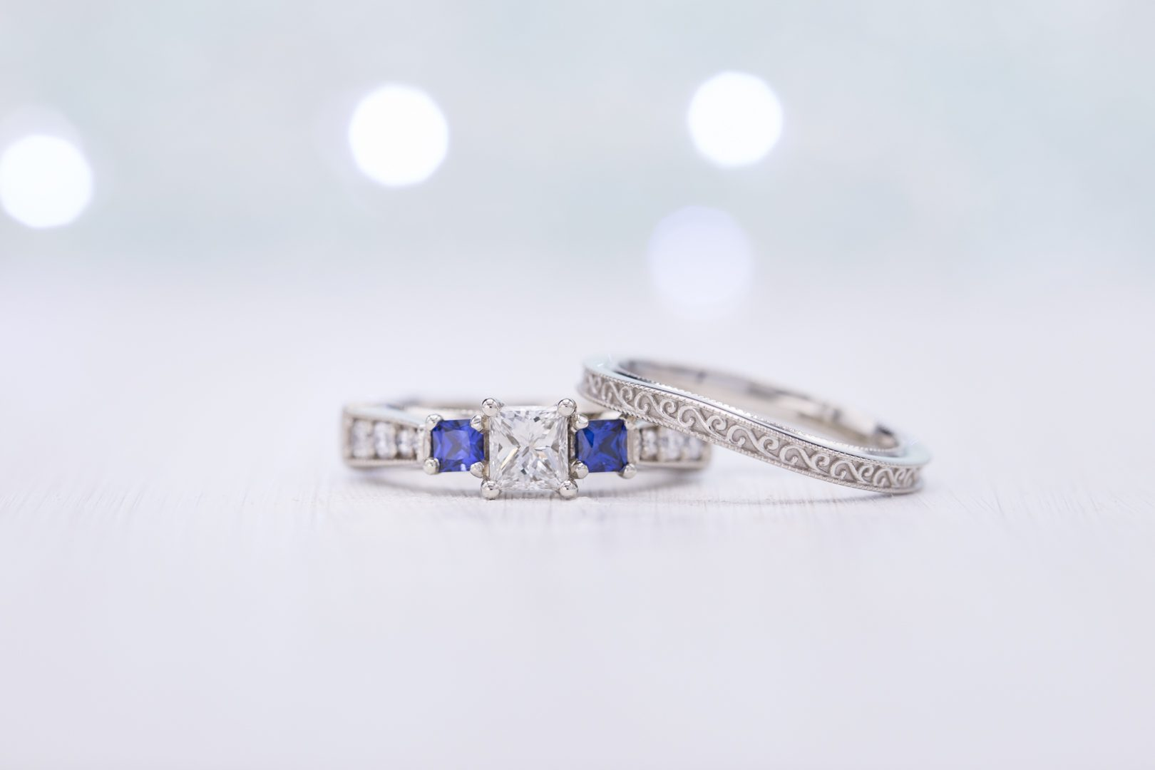 princess-cut diamond with sapphire accents - engagement ring setting
