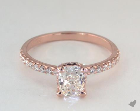 cushion-cut diamonds - J color in rose gold pave engagement ring
